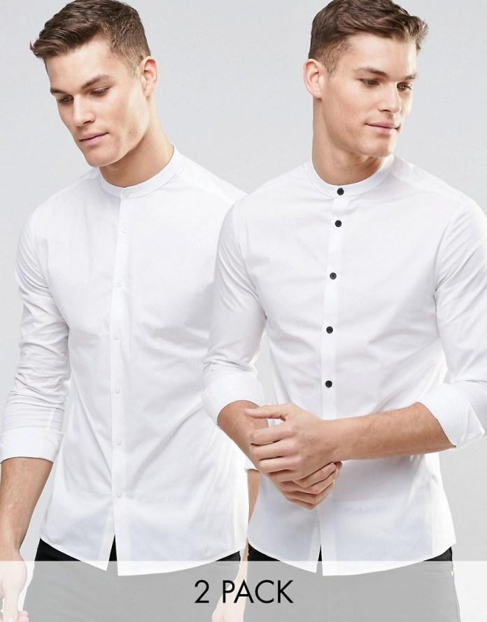 áo sơ mi nam cổ trụ trắng - 1