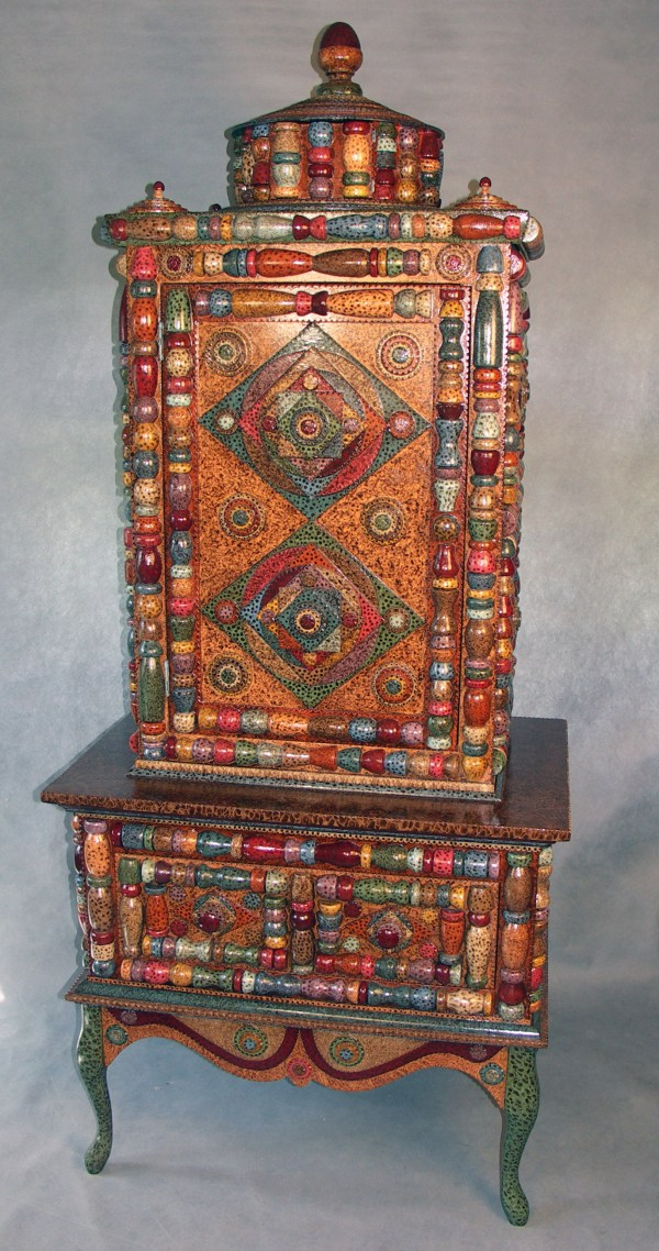 Furniture Inspired Tramp Art Folk Handmade Hand Painted