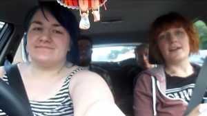 """Becky and Sarah in the front of Becky's car, as seen in """"IRL - Week 8"""". Sarah's boyfriend Richard, and my mother, can be seen in the back seats."""