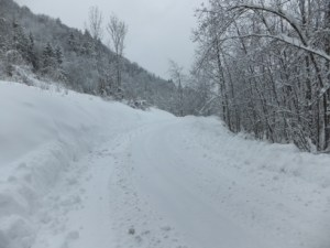 A family of Luxembourgers were trying to drive up this road as I came back across it, on my way back. Their wheels span as they failed to get traction. I noted that all of the local cars, parked in the village, had snow chains.