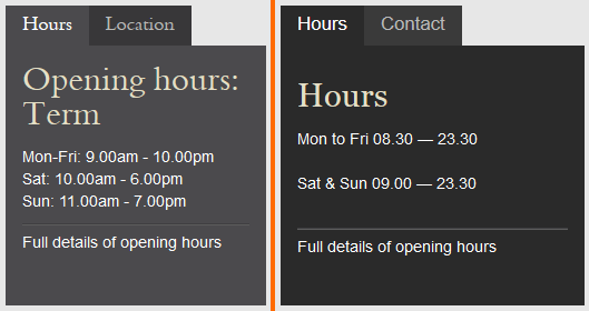 Bodleian and Bilkent opening hours, side-by-side.