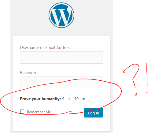"""WordPress/Jetpack's CAPTCHA, asking for the solution to """"9+10="""""""