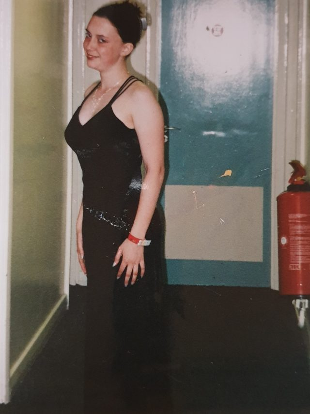 Claire in Penbrytn, preparing to go to the Aberystywth May Ball in 2003