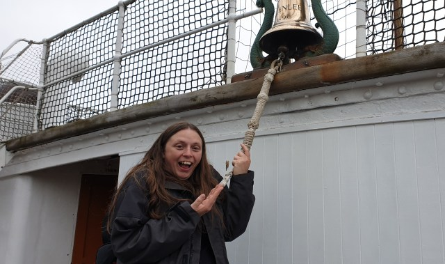 Ruth rings the bell on the Glenlee