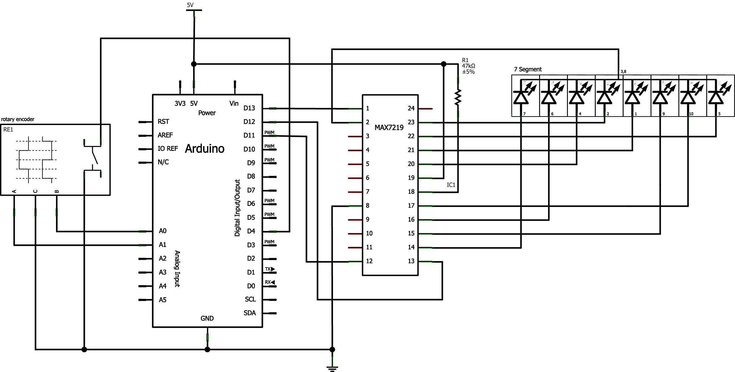 Using A Rotary Encoder As An Input With 7 Segment Display
