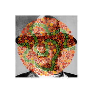 John Wayne (Rio Lobo) / Ishihara 30 (Unlettered), pigmented ink on glossy paper with UV laminate, 18 x 18 inches, 2013