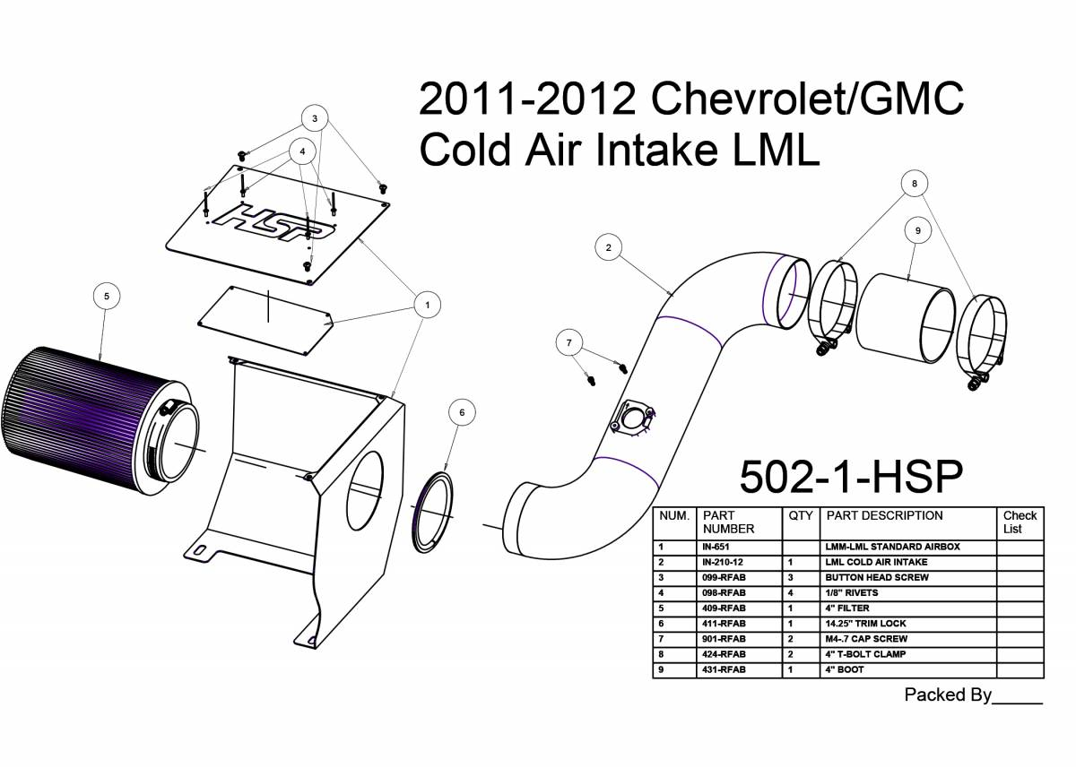 Chevrolet Gmc Cold Air Intake Candy Blue Hsp