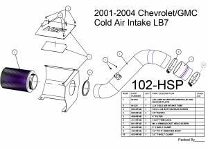 2001-2004 Chevrolet / GMC Cold Air Intake Orange HSP Diesel