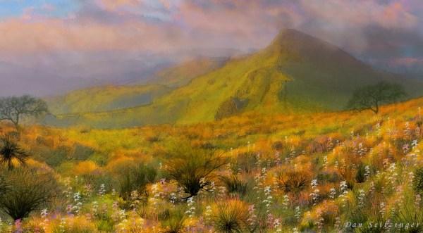 Mountain Flower Landscape Painting