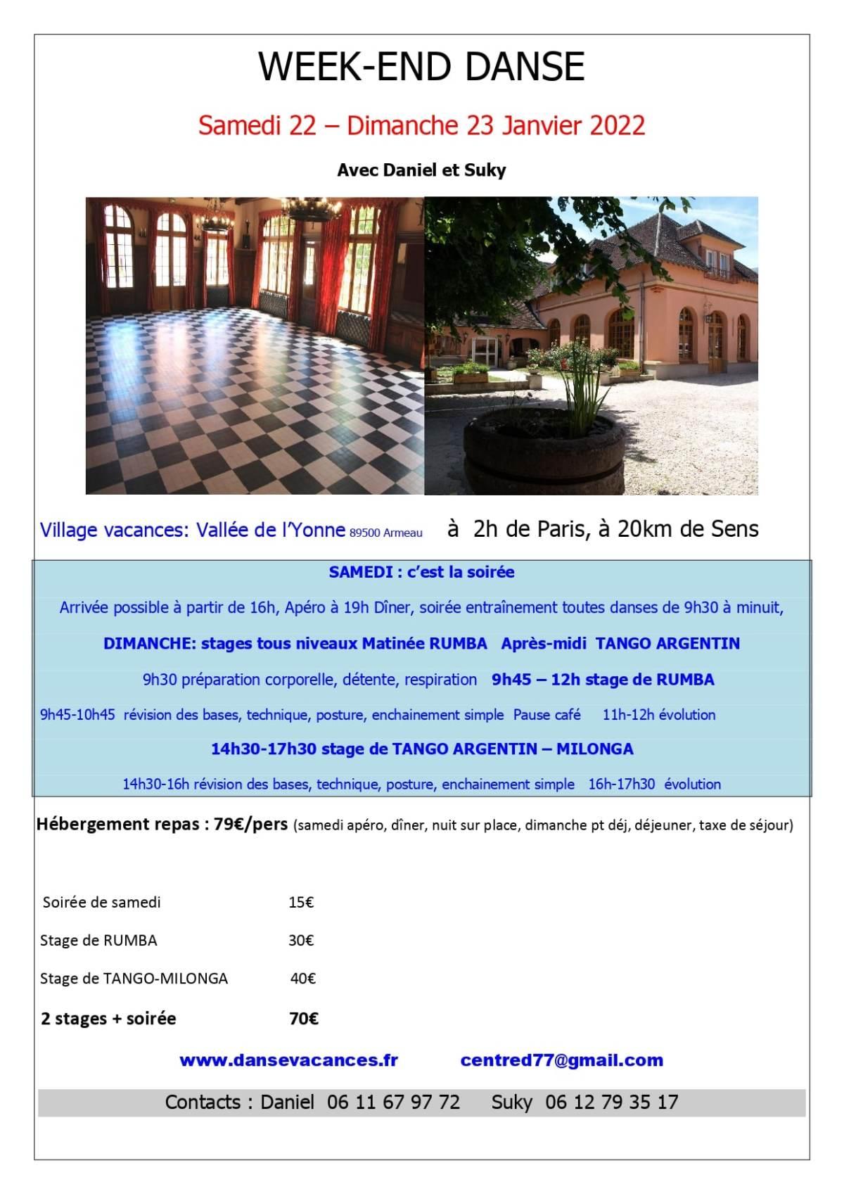 Week-end de danse à la Vallée de l'Yonne du 22 au 23 janvier 2022