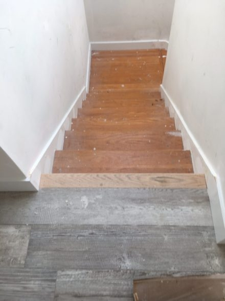 Refinishing Stair Treads To Mimic Wood Look Tile Floor Atlantic   Wood And Tile Stairs   Rocell Living Room   Tile Floor   Basement   Quarter Round Stair Hardwood   White