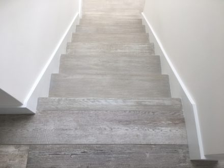 Refinishing Stair Treads To Mimic Wood Look Tile Floor Atlantic | Wood Grain Tile On Stairs | Natural Wood | Contemporary | Basement | Upstairs | Subway Tile