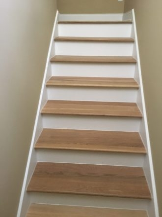 Wire Brushed White Oak Flooring And Staircase Marshview | European Oak Stair Treads | Basement Stairs | Hardwax Oil | Lumber | Risers | Wood Stair Railing