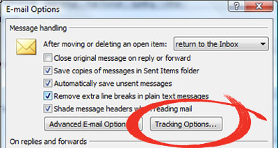Microsoft Outlook  Read Reciepts - E-mail Options - Tracking Options