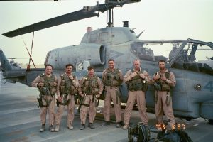 Taken shortly after we finally made it back to Kuwait after the 4 day dust storm.  From left to right: Weasel, Shoe, Gash, BT, Fuse, IKE.  Missing are Spock and JoJo--still in Iraq after being shot down during the final mission of those four days.  It would be several more days before maintenance Marines could get their aircraft flyable again.