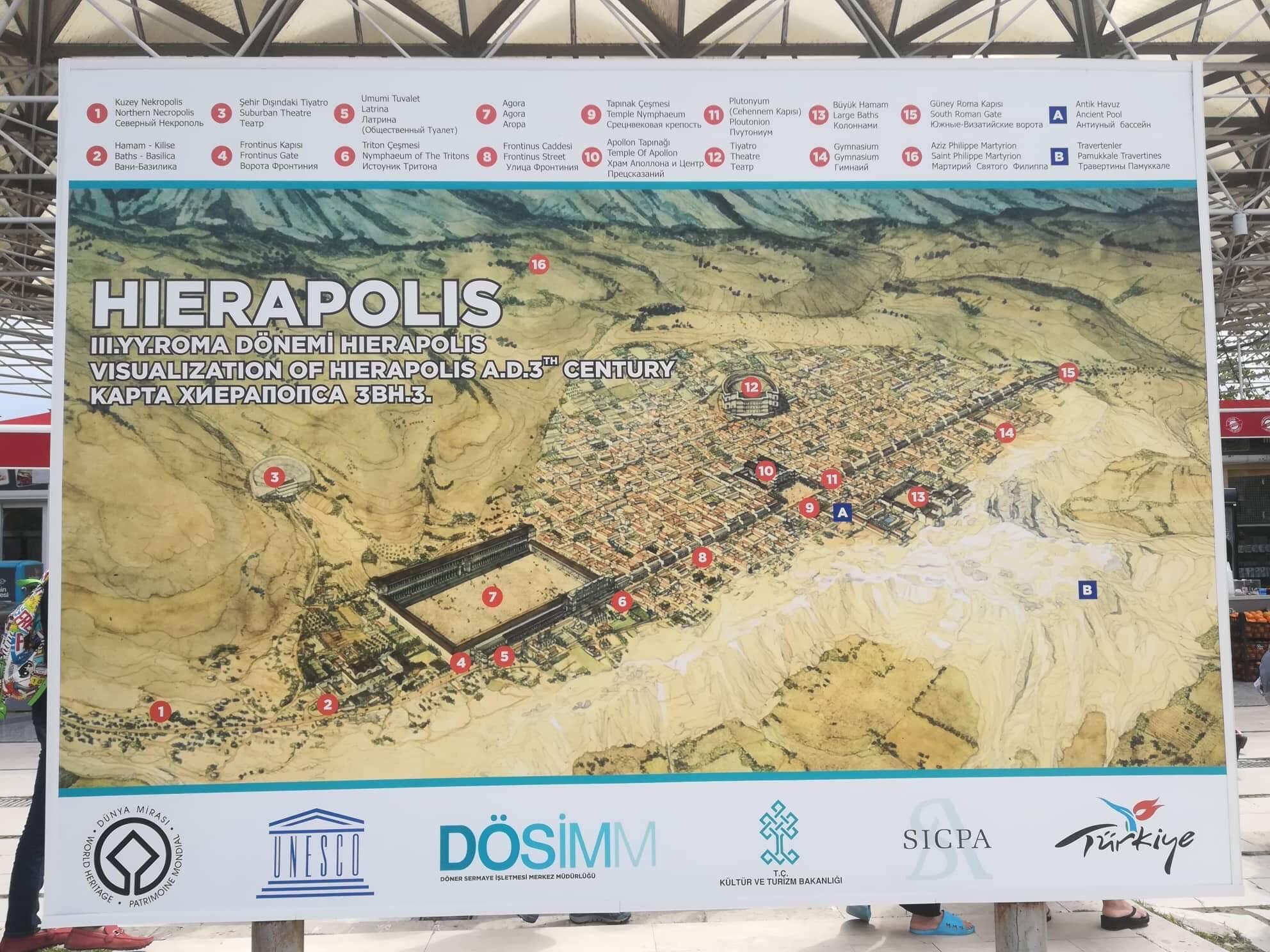 Pamukkale Hierapolis Kort Dansk I Tyrkiet