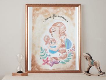 Fête des mères 2021 : Je vous propose de célébrer nos mamans, avec un dessin original fait à l'aquarelle brillante. Il est sous format A4 ( 21/29cm), en papier aquarelle 300g.