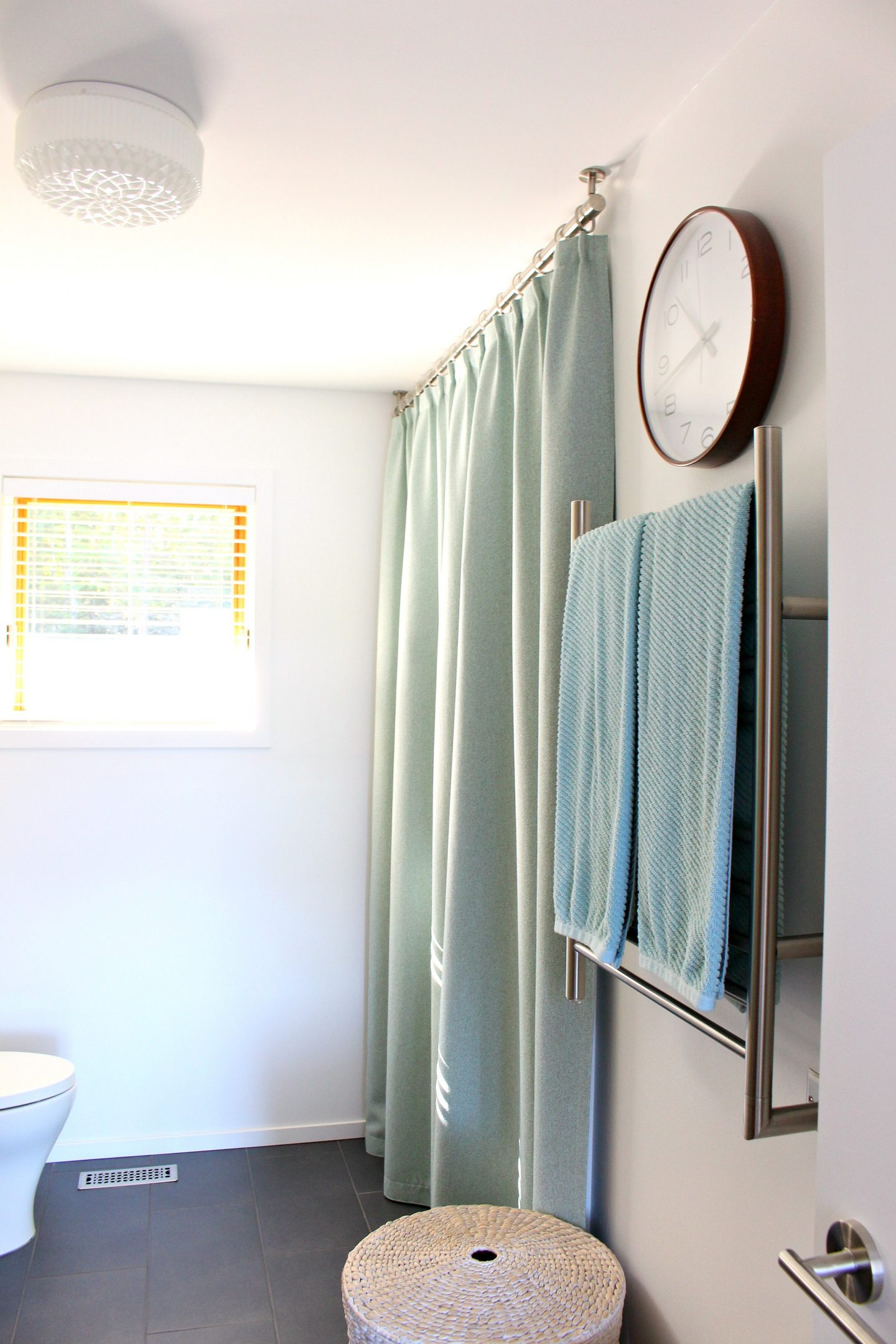 Bathroom Shower Curtain Bathroom Update Ceiling Mounted Shower Curtain Rod Turquoise