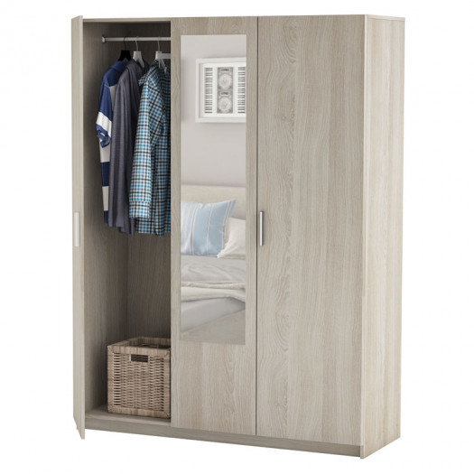 armoire 3 portes avec miroir chene clair oda