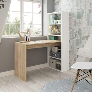 DUPLO Bureau avec Bibliothèque Blanc et chêne 120 cm
