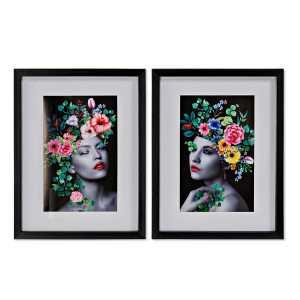 2 Tableaux Fleurs 35x2x35 cm