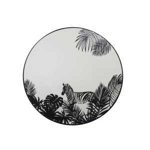 Miroir Imprimé Tropical en métal noir 40x2x40 cm