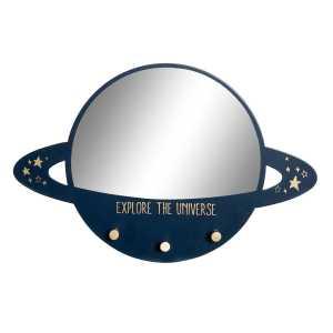 Miroir Porte manteau planète bleu en MDF 45x4x30 cm