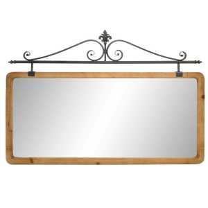 Miroir en sapin et métal 120x3x89 cm