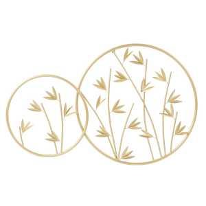 DECORATION MURALE métal 94×3.5×60 Bambou doré