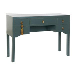 Bureau oriental turquoise en bois de pin et mdf 110X35X78