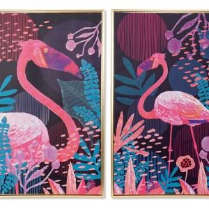 Set de 2 Tableaux de flamant encadré en toile 60x4x90