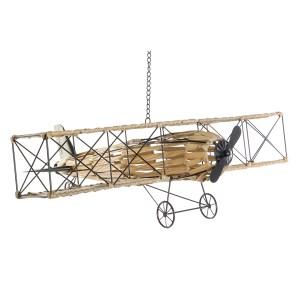 Figure avion en métal et rotin synthétique suspendu 78X71X28
