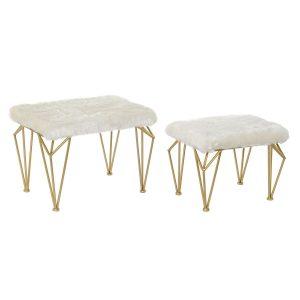 Repose-pieds set 2 en polyester et métal 60x40x44