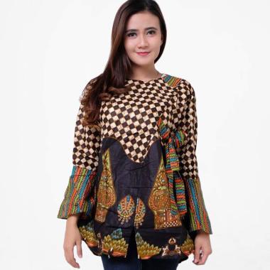 Baju Batik Lengan Pendek Perpaduan Motif Kotak warna cokelat