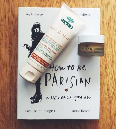 Rêve de miel Nuxe crème pour les mains baume à lèvres How to be a parisian