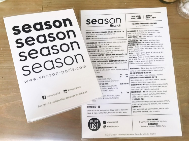 avis carte Season restaurant parisien healthy et hyper tendance blog