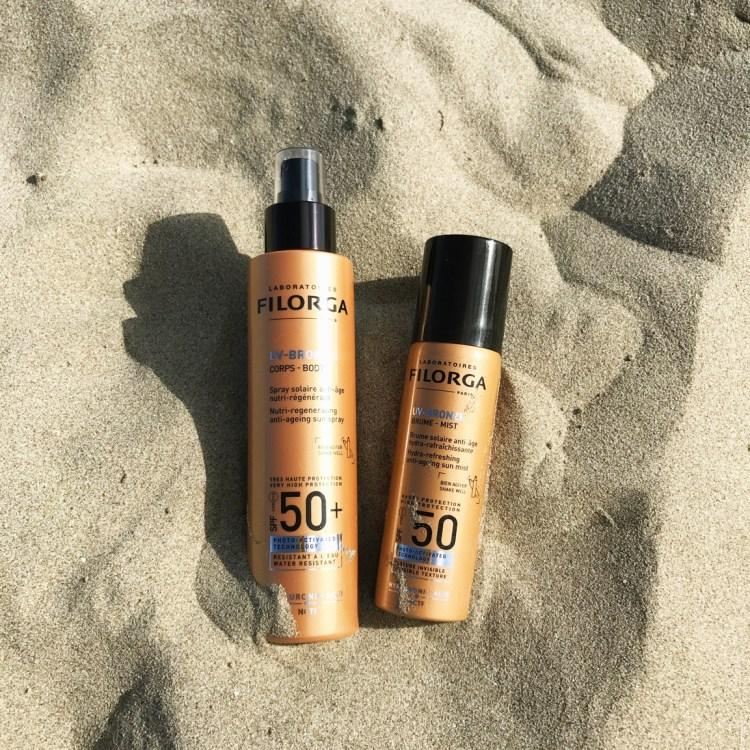 Mon avis sur UV Bronze spray solaires anti age nutri régénérant fluide solaire rides taches corps visage de Filorga