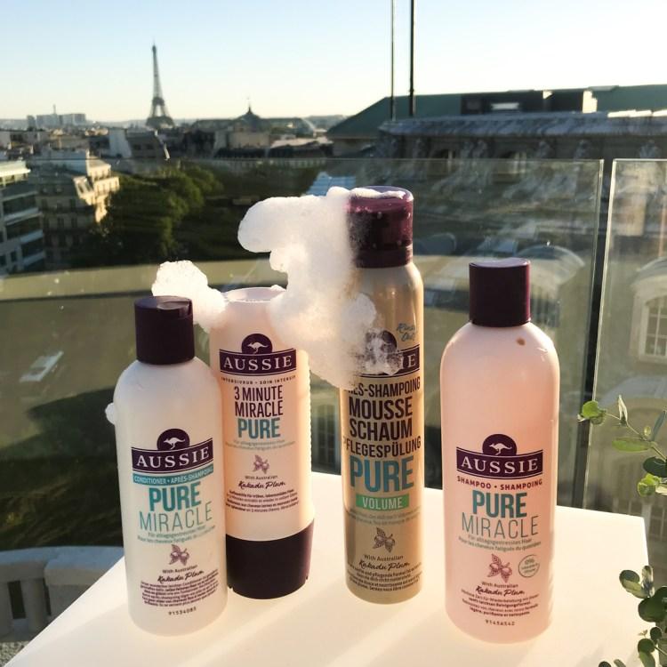 Mon avis sur le shampooing et l'après-shampooing Aussie Pure Miracle blog dans mon sac de fille