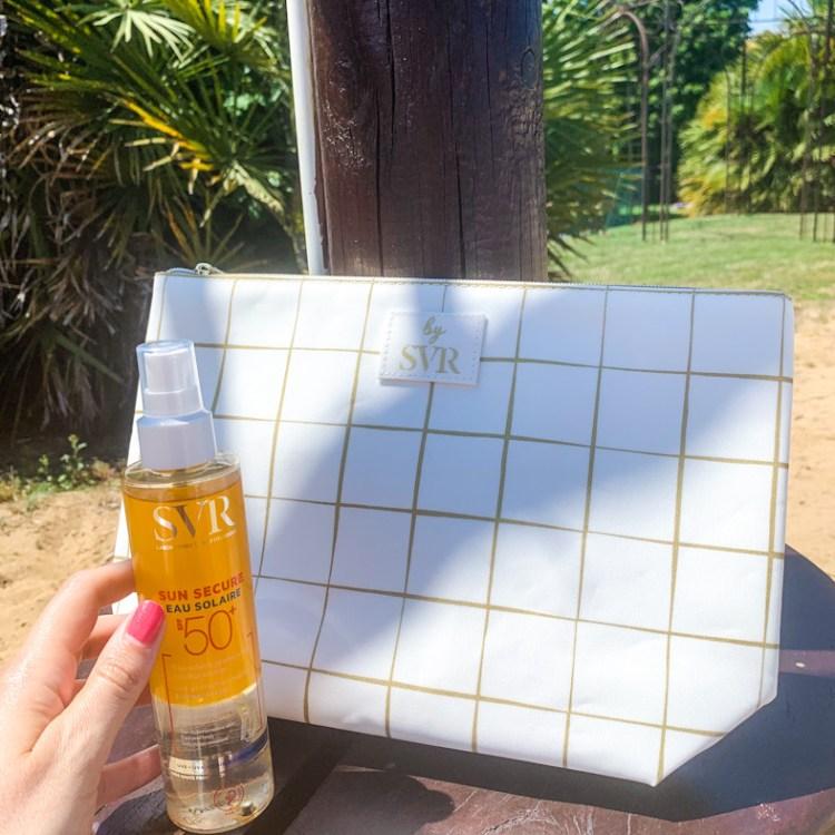 Mon avis sur l'Eau Solaire Sun Secure d'SVR une nouvelle protection solaire SPF50+ et biodégradable avis blog test