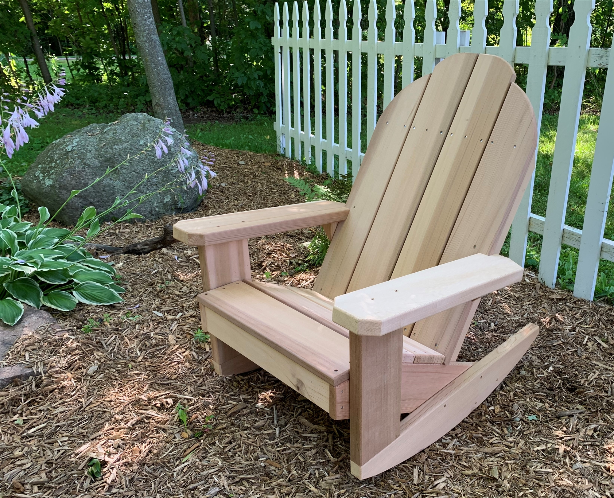 Adirondack Rocking Chair Plans Classic Adirondack Style Cedar Rocking Chair W Arm Rests