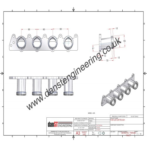 Renault Clio 172 & 182 INLET MANIFOLD TO SUIT ZX12R