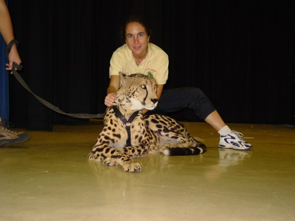 Vazquez with a cheetah