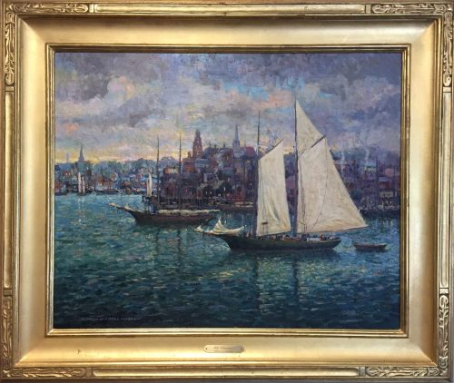 painting by donald allen mosher of Gloucester Harbor