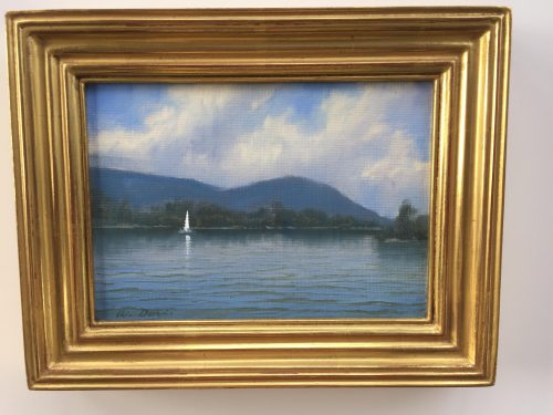 painting by William Davis of a lake in Vermont