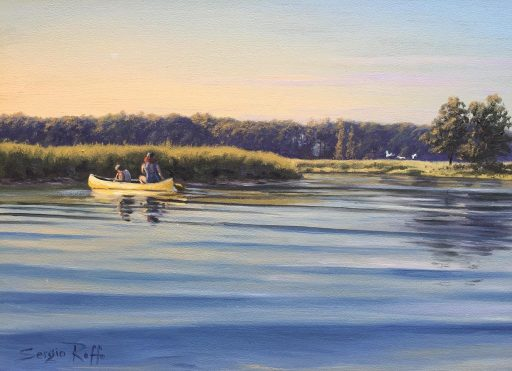 A painting of two people canoeing on a lake by artist Sergio Roffo