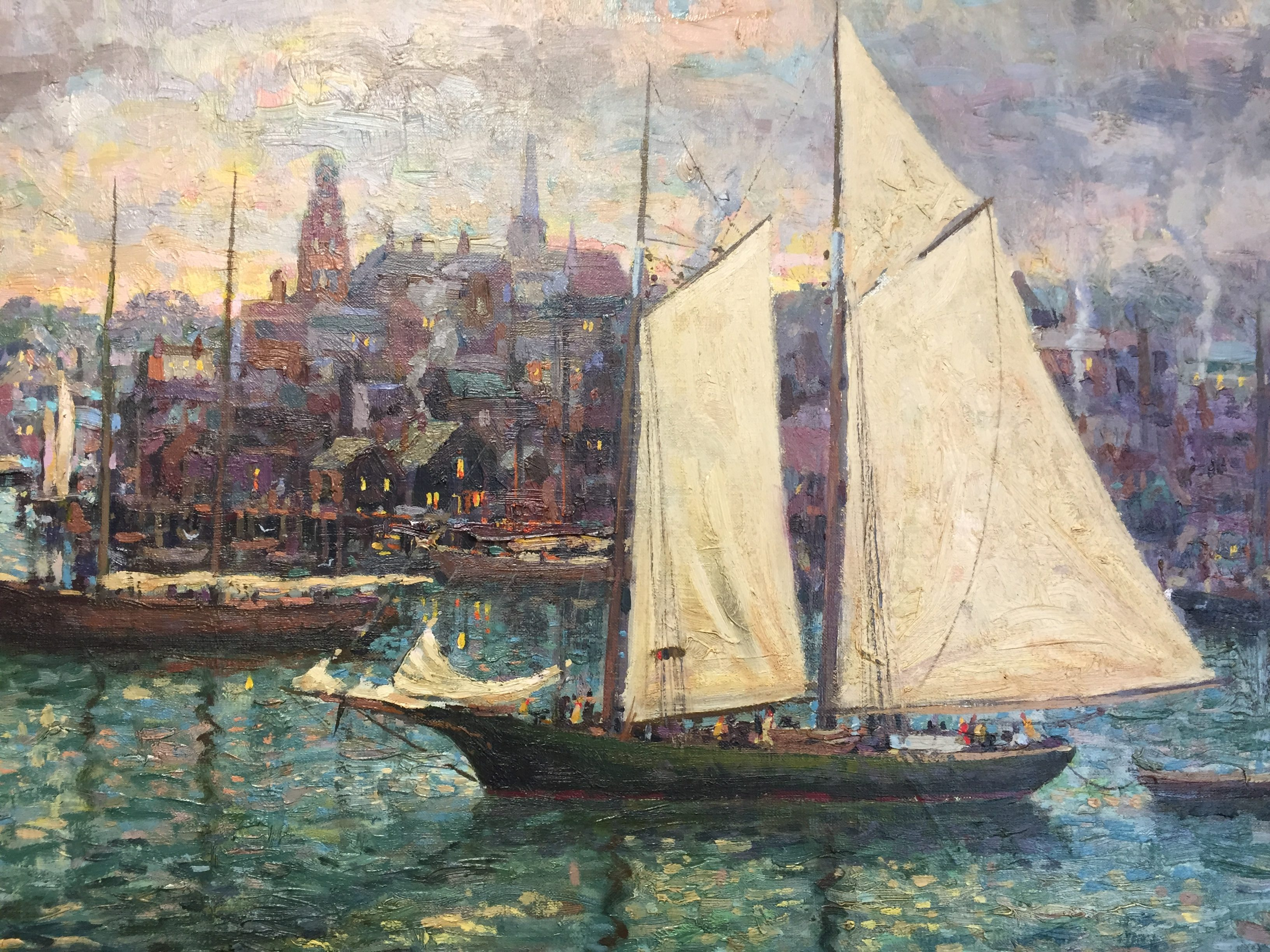 Traditonal painting of Gloucester Harbor done by artist Donald Allen Mosher