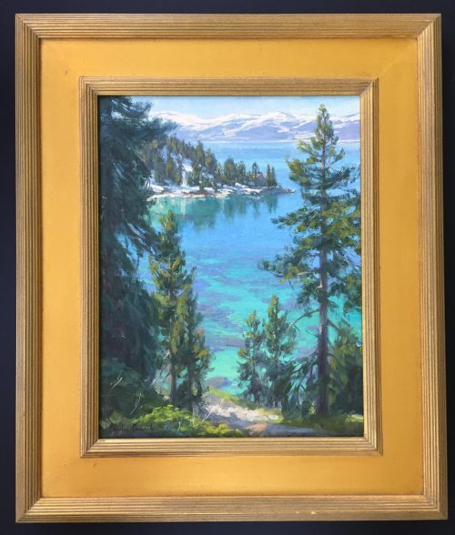 painting of Emerald Bay Lake Tahoe done by artist Charles Muench