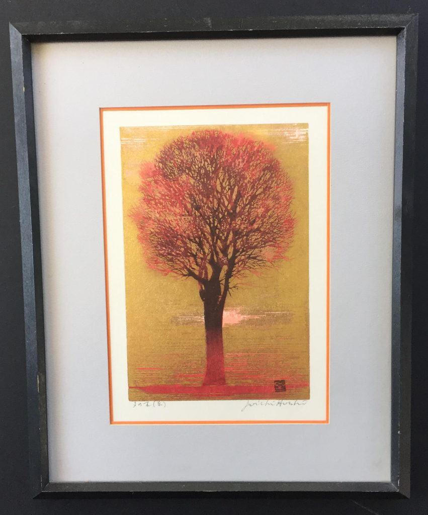 works on paper of a red tree done by artist Joichi Hoshi