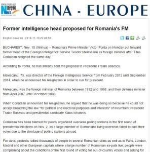 Xinhua - Fost sef de informatii propus ministrul de Externei in Romania