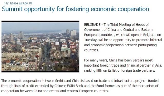 Tanjug - Summit-ul CHINA - ECE, oportunitate pentru promovarea cooperarilor economice